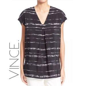 Vince 100% silk black & white tunic top XS 0135